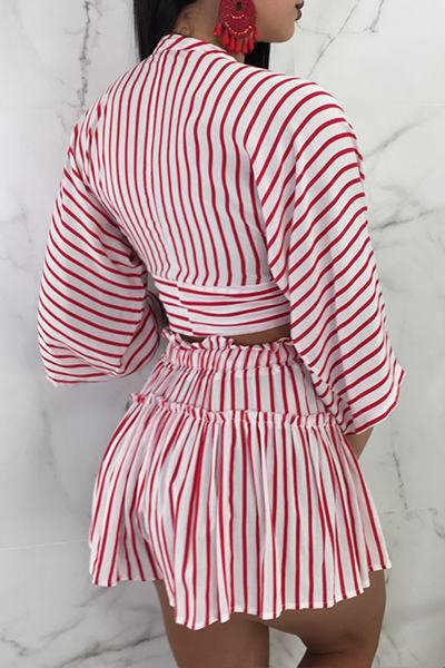 3/4 Length Sleeve Deep V Neck Cropped Striped Set