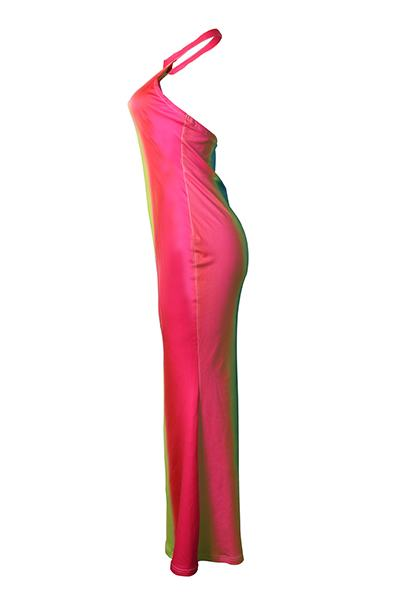 Colorful Tie Dye Sleeveless Halter Neck Long Maxi Dress