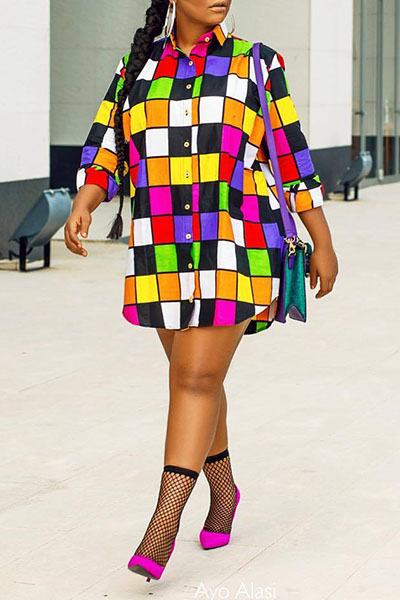 Checked Colorful Shirt Collar Shift Short Tunic Dress