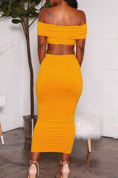 Bright Yellow Off Shoulder Crop Top & Long Pencil Skirt