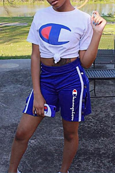 Graphic Print Sporty Crew Neck T-Shirt Two Piece Shorts Set