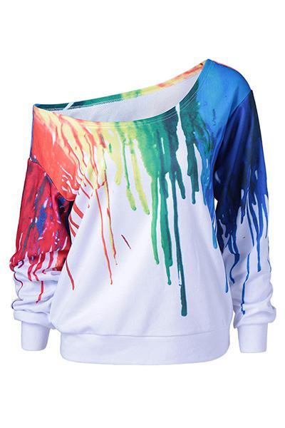 Bright Long Sleeve One Shoulder Dripping Paint Print Plus Size Sweatshirt Top