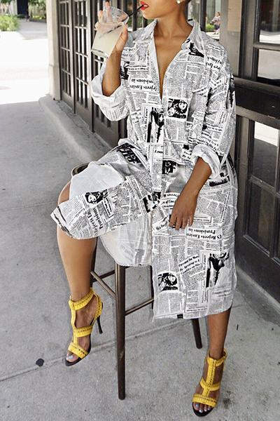 Edgy Shirt Collar Graphic Newspaper Print Calf-Length Midi Tunic Dress