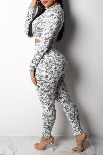 100 Dollar Bill Print Long Sleeve High Neck Crop Top & Leggings Set