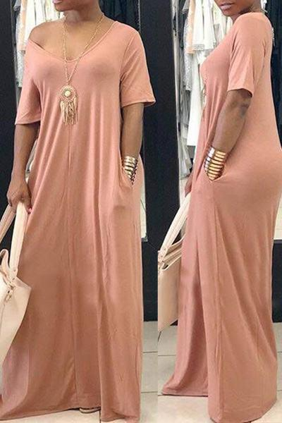 Flattering Loose Fit Half Sleeve Scoop Neck Long Tent Pocket Dress