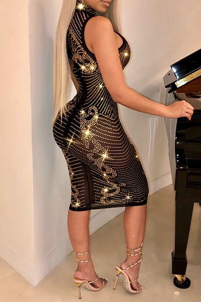 Black & Gold Sparkly Sleeveless High Neck Studded Club Party Dress