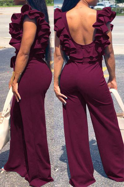 Elegant Ruffle Sleeve Boat Neck LongAll-in-One Romper Jumpsuit