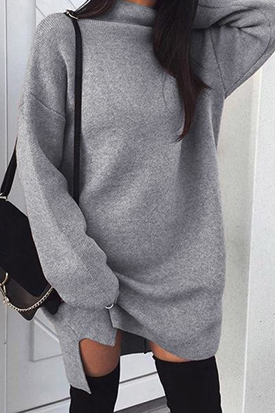 Chic Long Sleeve High Collar Neck Plain Long Sweater Short Dress