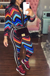 Cool Long Sleeve Zipper Track Top & Slim Fit Zig Zag Pattern Leggings