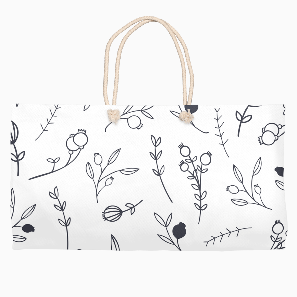 Drawn Floral Weekender Tote - Dearly Divorced