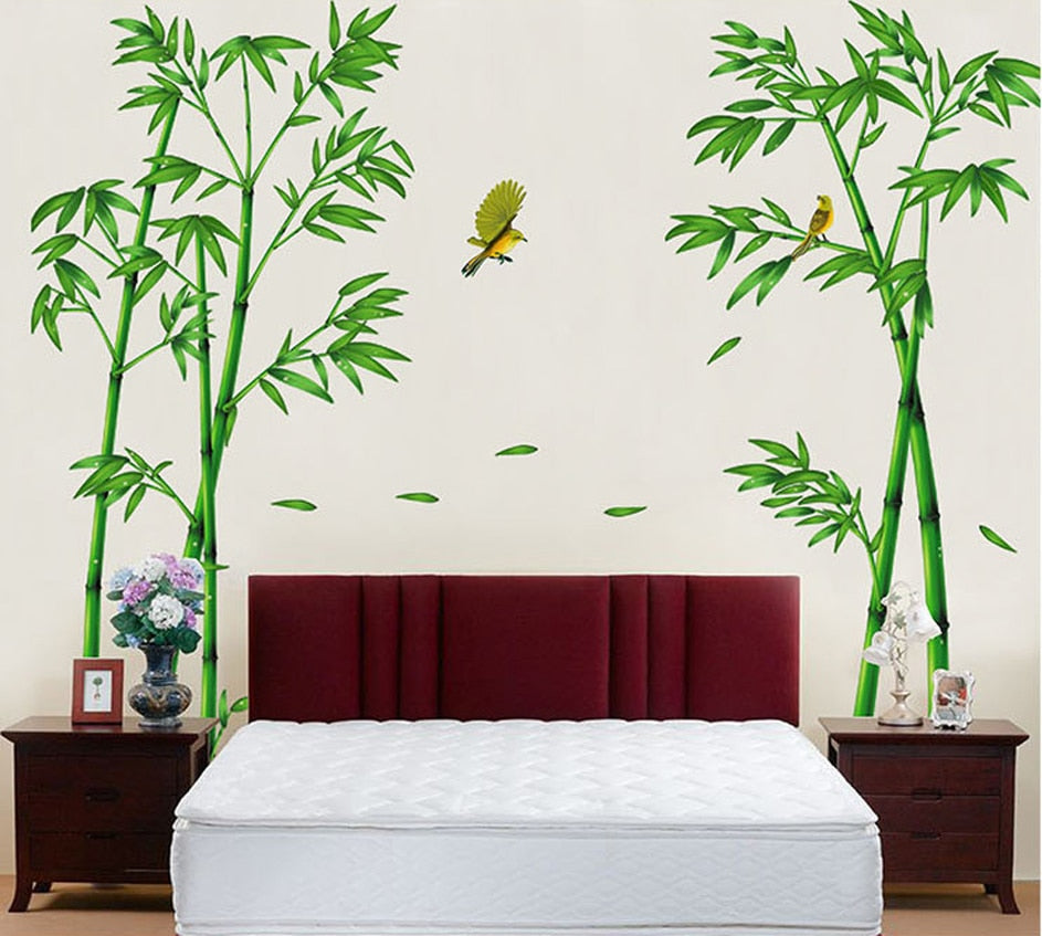 Green Bamboo Forest Tree Wall Stickers Shopeena