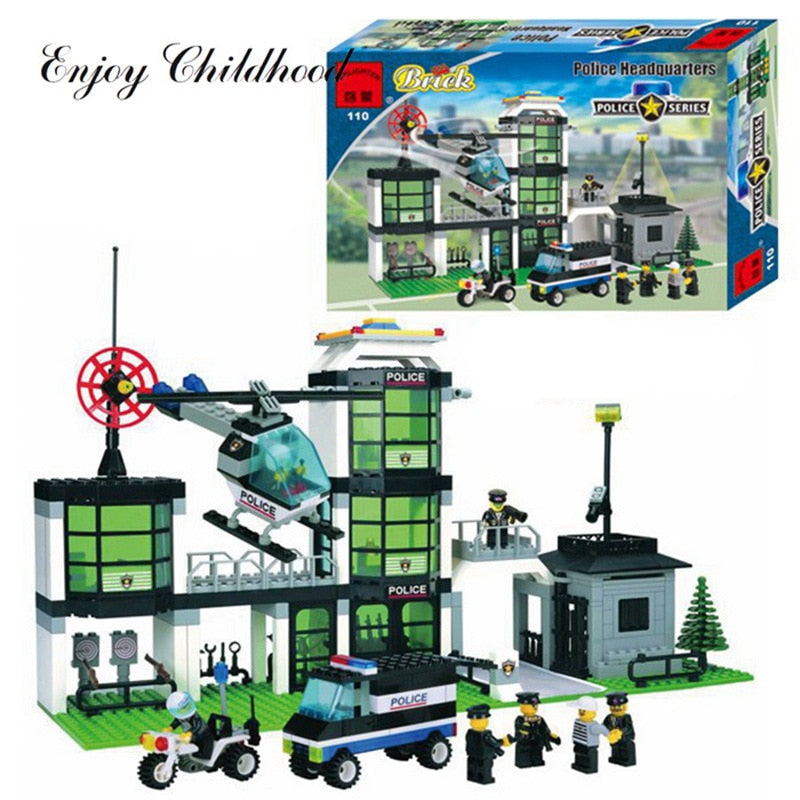 City Police Station Building Blocks 3d Model Compatible With Lego