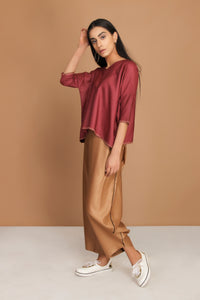 Dull barn red loose top