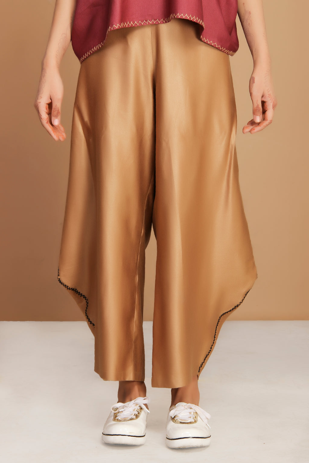 Hand embroidered golden loose style pants
