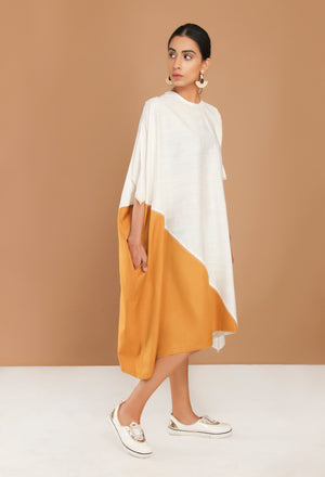 White and mustard asymmetric minimal dress