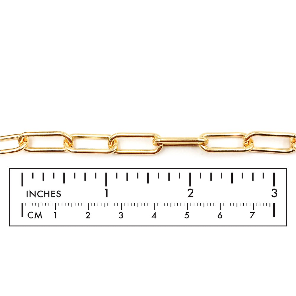 BCH1246  18 Karat Gold Plated Oval Link Paper Clip Chain