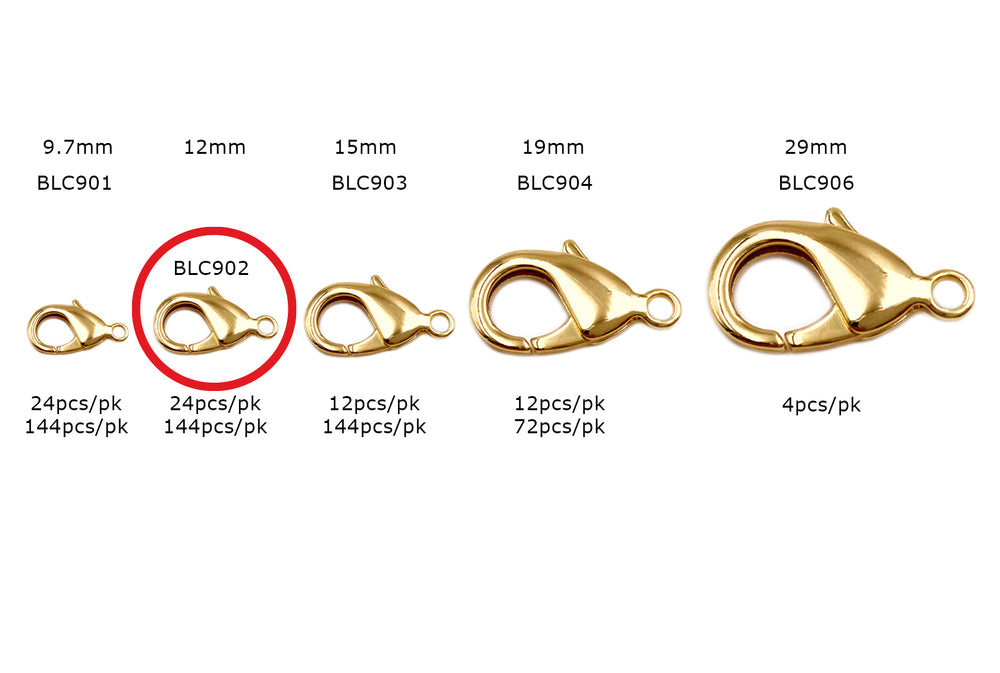 BLC902  18 Karat Gold Plated 12mm Lobster Clasp CHOOSE PACK BELOW