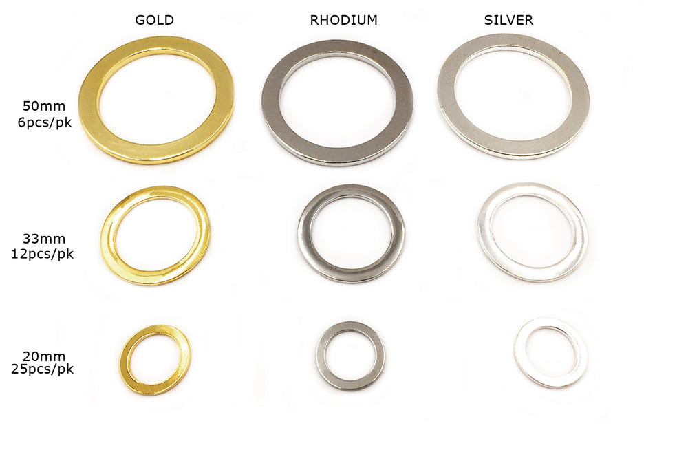 CMF1481-2-3 Flat Round O Rings/Pendants CHOOSE COLOR & SIZE BELOW