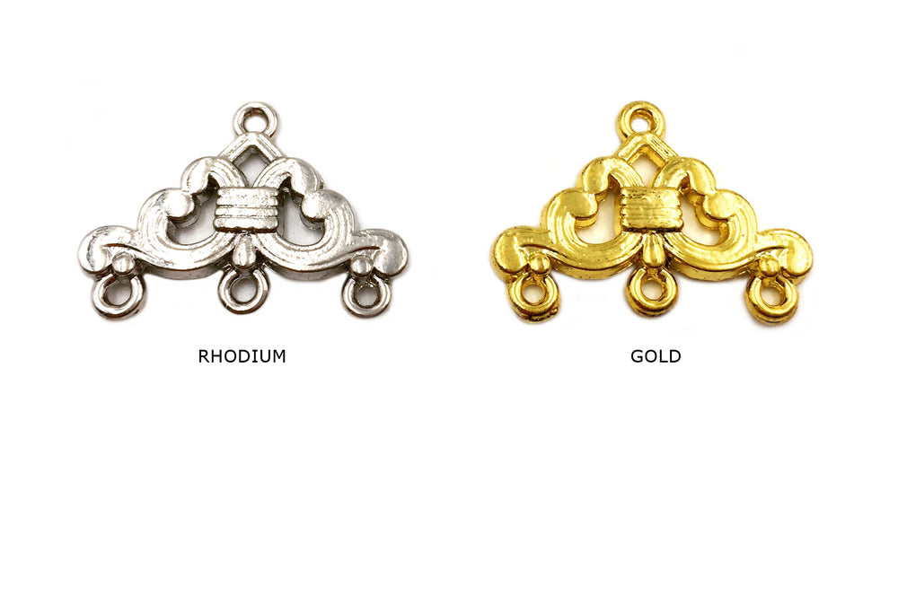 CMF1766 Three Strand End Clasp With Design CHOOSE COLOR BELOW