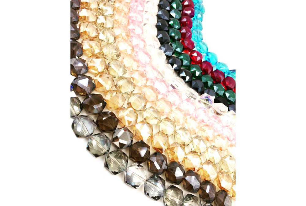 GB1757 Facetd Hexagon Crystal 14mmX16mm All Colors CHOOSE COLOR FROM DROP DOWN ARROW
