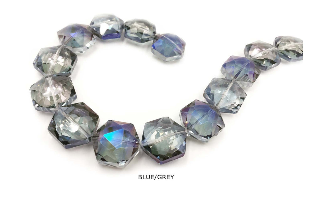 GB1758 Faceted Hexagon Crystal 18mmX20mm All Colors CHOOSE COLOR FROM DROP DOWN ARROW