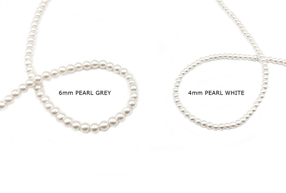 GPJH2005-06 Pearl White - Pearl Grey Glass Pearl 4mm, 6mm CHOOSE SIZE BELOW
