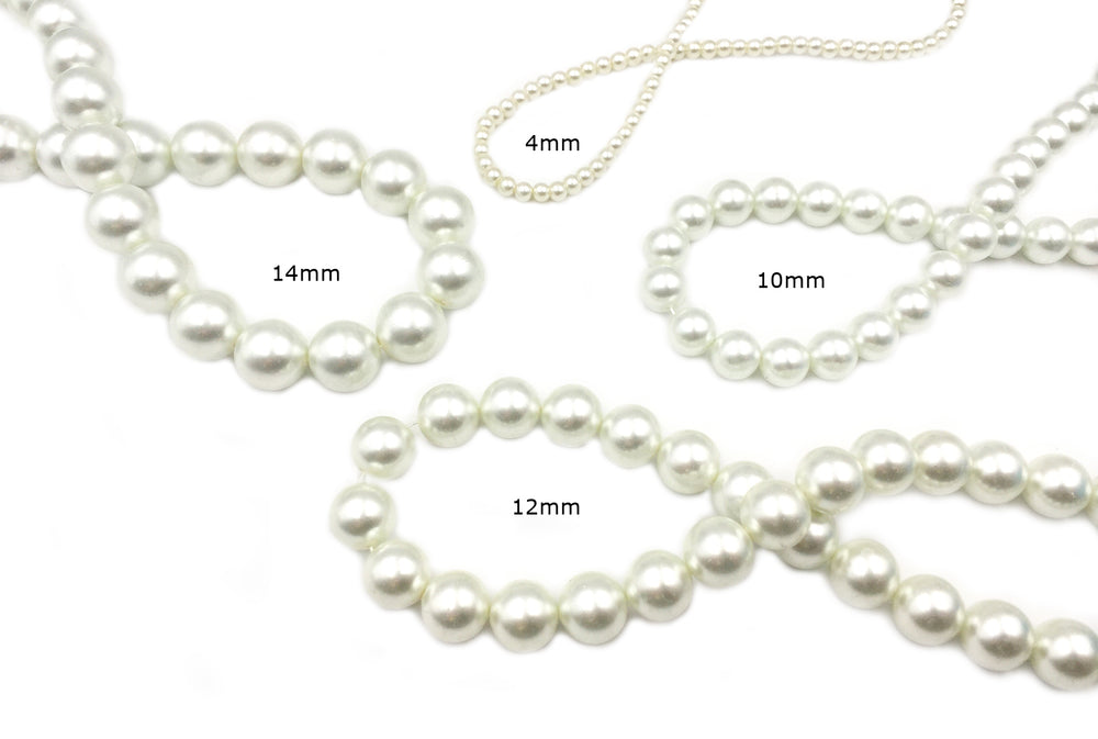 GPJH2005-8 White/Green Glass Pearl 4mm, 10mm, 12mm, 14mm CHOOSE SIZE BELOW