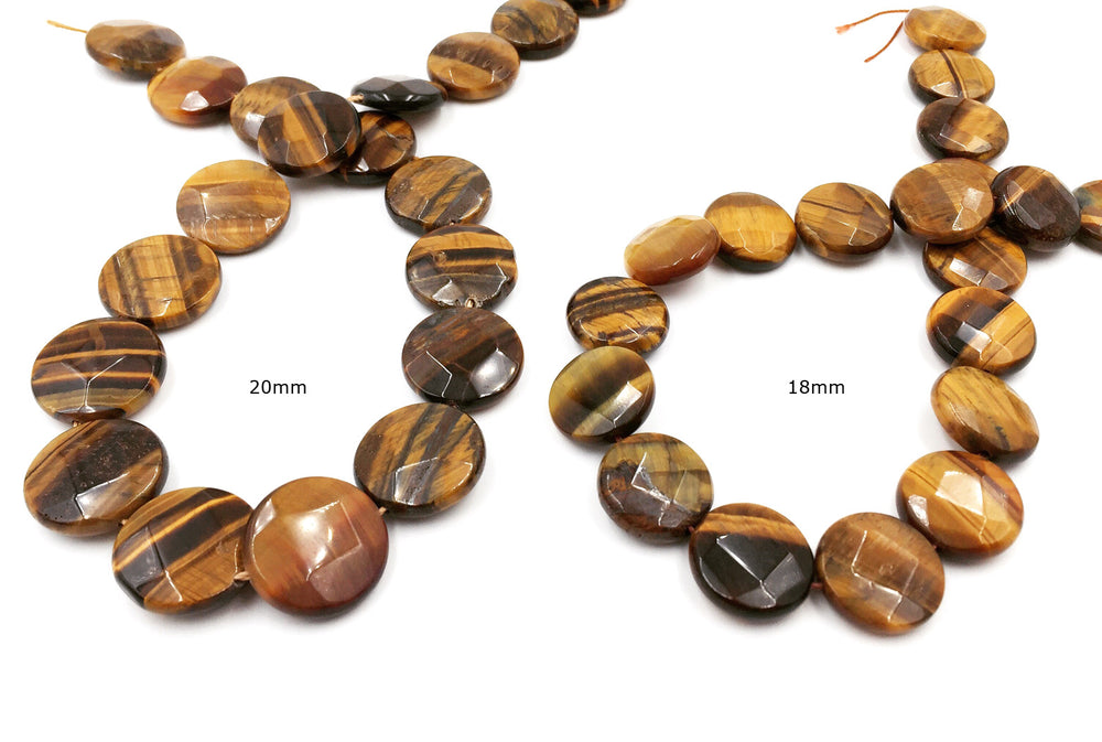 GS1580.18.33 Round Faceted Tiger Eye Gemstone 18mm, 20mm