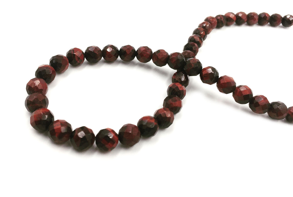 GS1581.08   Faceted Red Tiger Eye Gemstone 8mm