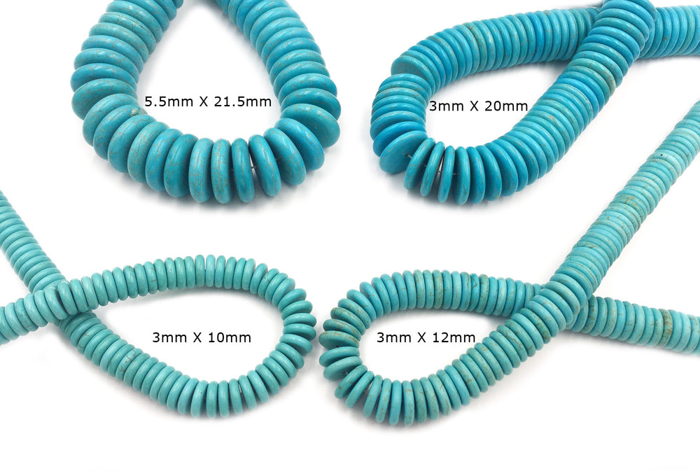 GS1590.277 Rounded  Flat Disc Howlite Turquoise Gemstone 10mm - 12mm - 20mm - 21.5mm