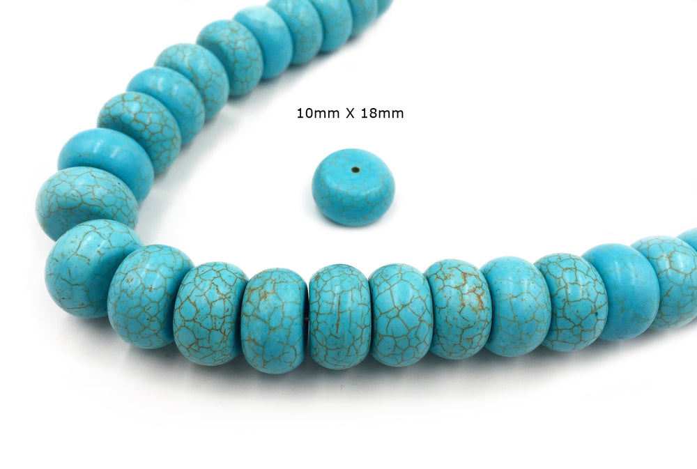 GS1590.181  Rondelle Howlite Turquoise Gemstone -Spacer All Sizes