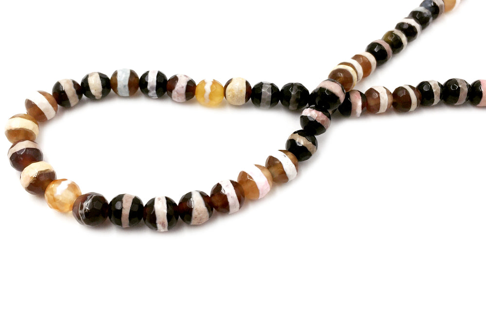 GS2391-02 Faceted Striped Agate Gemstone 6mm