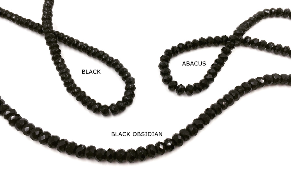 GSA1017-04 Faceted Rondelle Gemstone 5mm X 8mm Black, Abacus, Obsidian Black CHOOSE COLOR BELOW