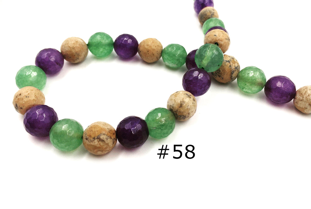 GSA1079-14 Faceted Gemstone 10mm Purple Green Mix CHOOSE COLOR BELOW