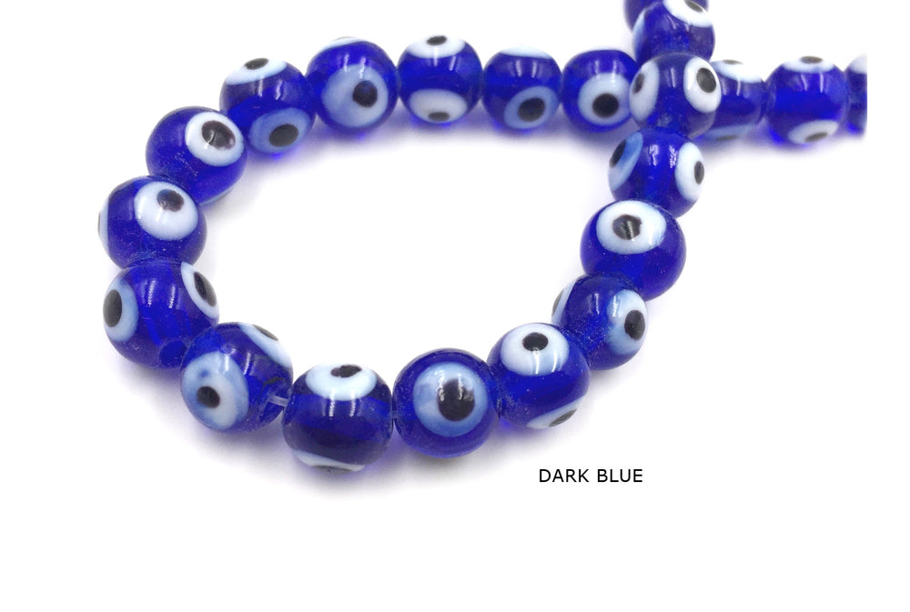MB1178 8MM Evil Eye Glass Bead CHOOSE COLOR FROM DROP DOWN ARROW