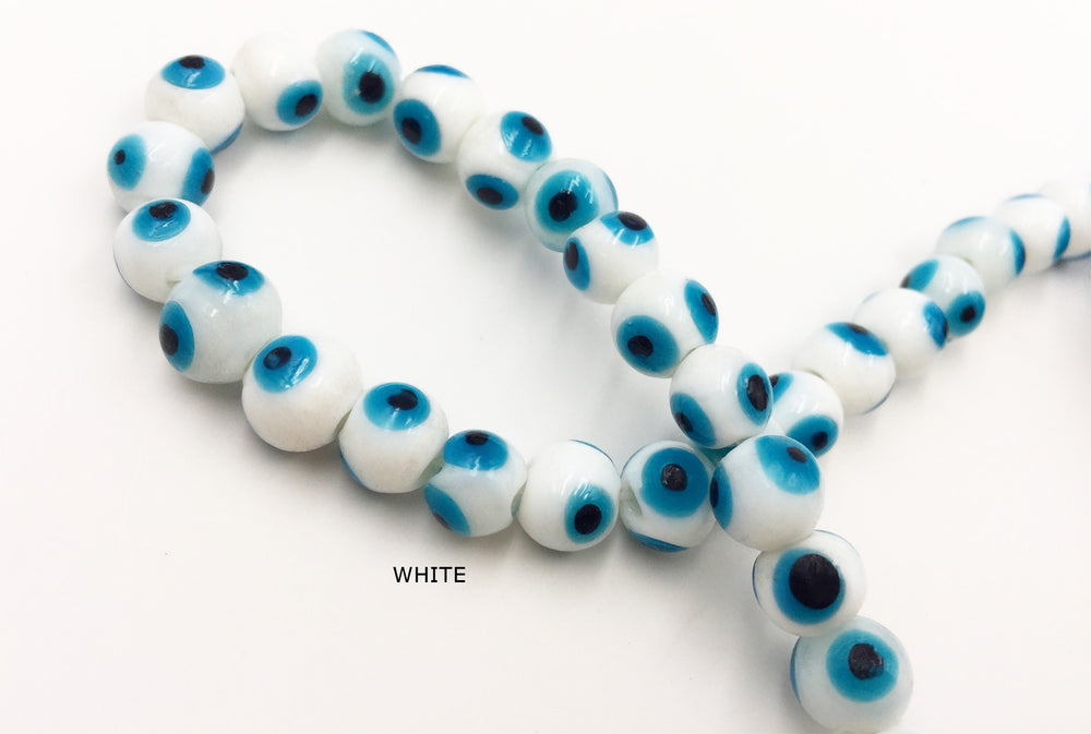 MB1179 10MM Evil Eye Glass Bead CHOOSE COLOR FROM DROP DOWN AROOW