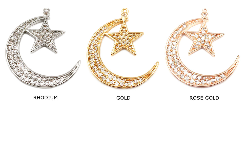 MP3600 Crescent Moon Star Charm/Pendant CHOOSE COLOR & PACK BELOW