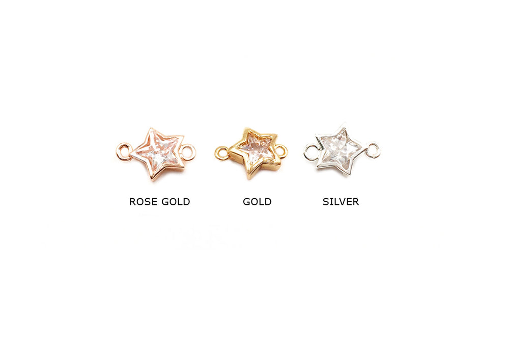 MP3605  Cubic Zircon Star Charm/Spacer CHOOSE COLOR & PACK BELOW