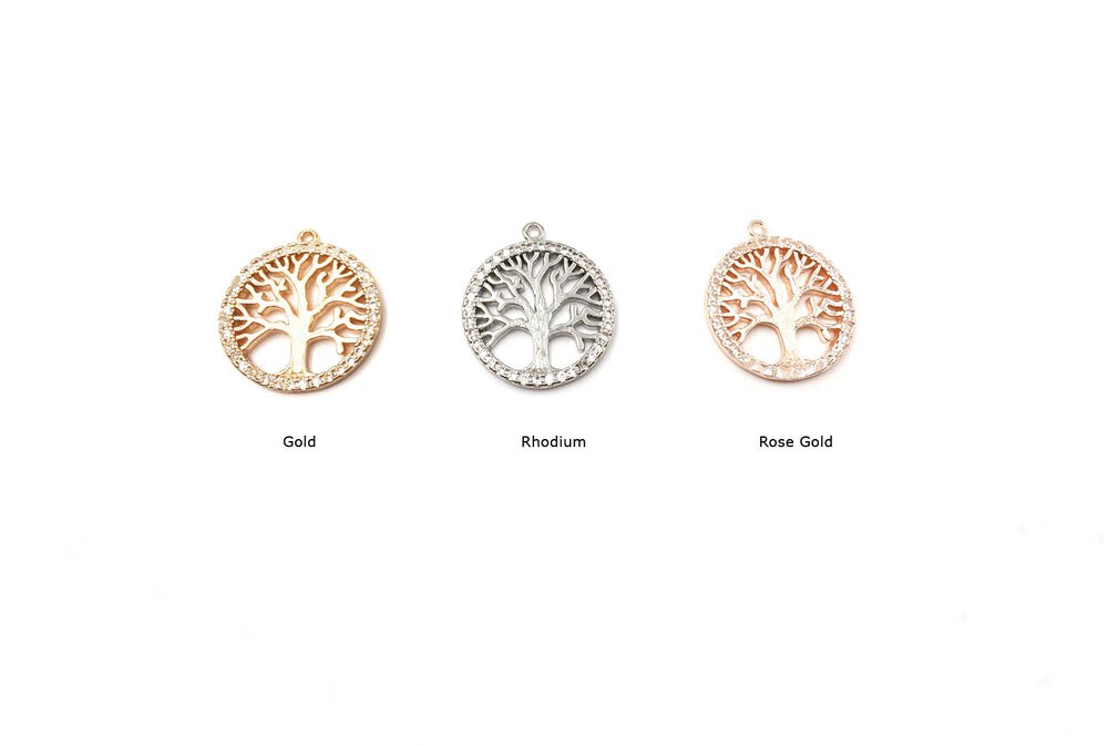 MP3649 Cubic Zirconia Tree of Life Charm/Pendant