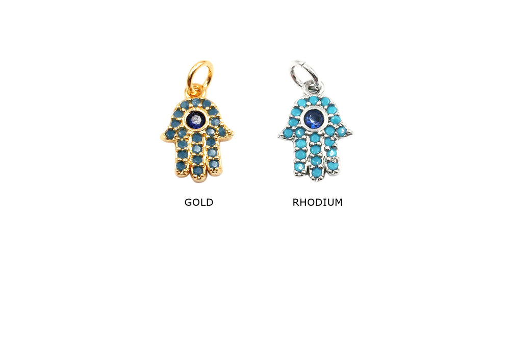 MP3778 Cubic Zriconia Hamsa With O Ring Charm/Pendant CHOOSE COLOR BELOW