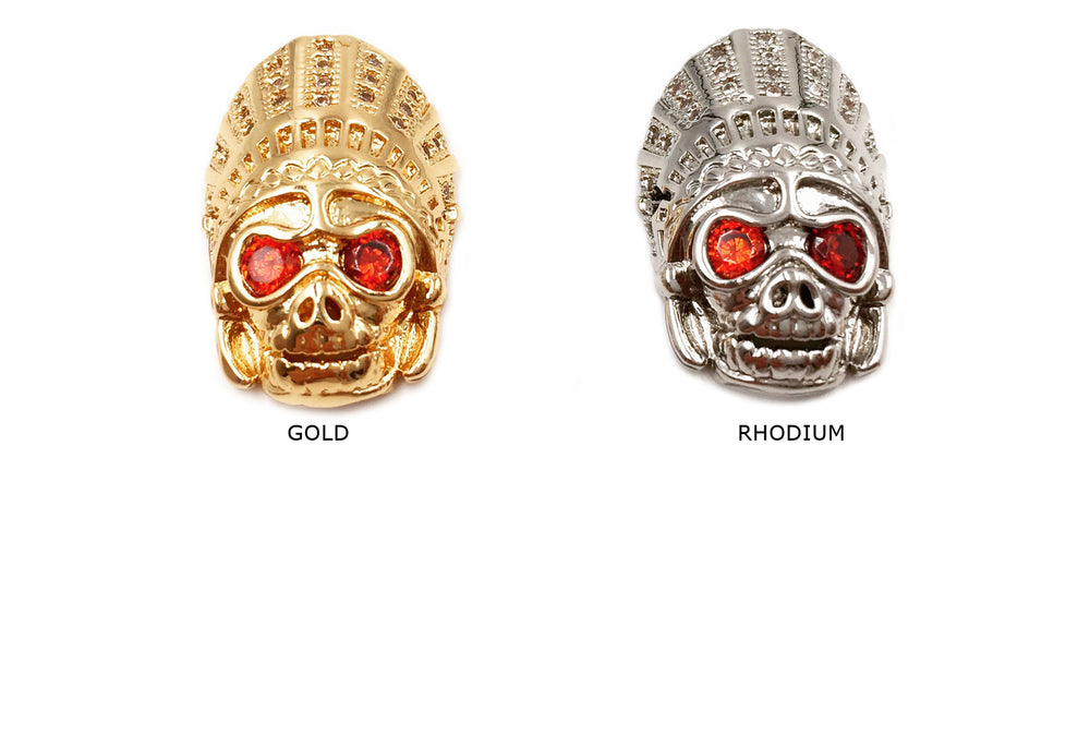 MP3791 Cubic Zirconia Red Eyed Skull With Hat Charm - CHOOSE COLOR BELOW