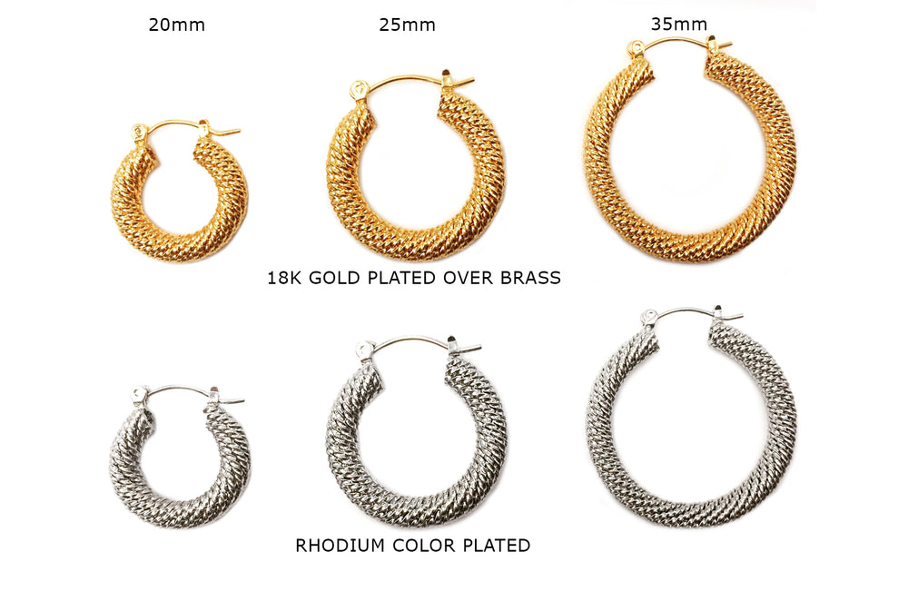 MP3812-14 Textured Earring Hoops CHOOSE COLOR & SIZE BELOW