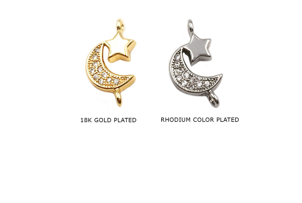 MP3848 Cubic Zirconia Moon Star Charm/Pendant CHOOSE COLOR BELOW