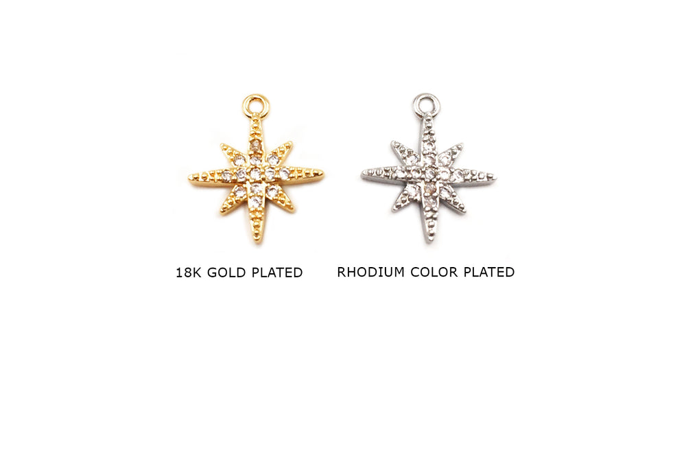 MP3854 Star Charm/Pendant With CZ Stone CHOOSE COLOR BELOW
