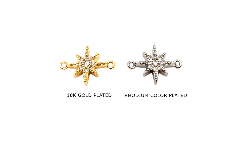 MP3859 Cubic Zirconia Star Connector - Spacer CHOOSE COLOR BELOW