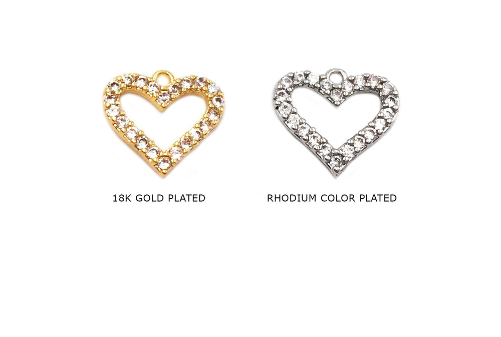 MP3862 Dainty Cubic Zirconia Heart Charm/Pendant CHOOSE COLOR BELOW