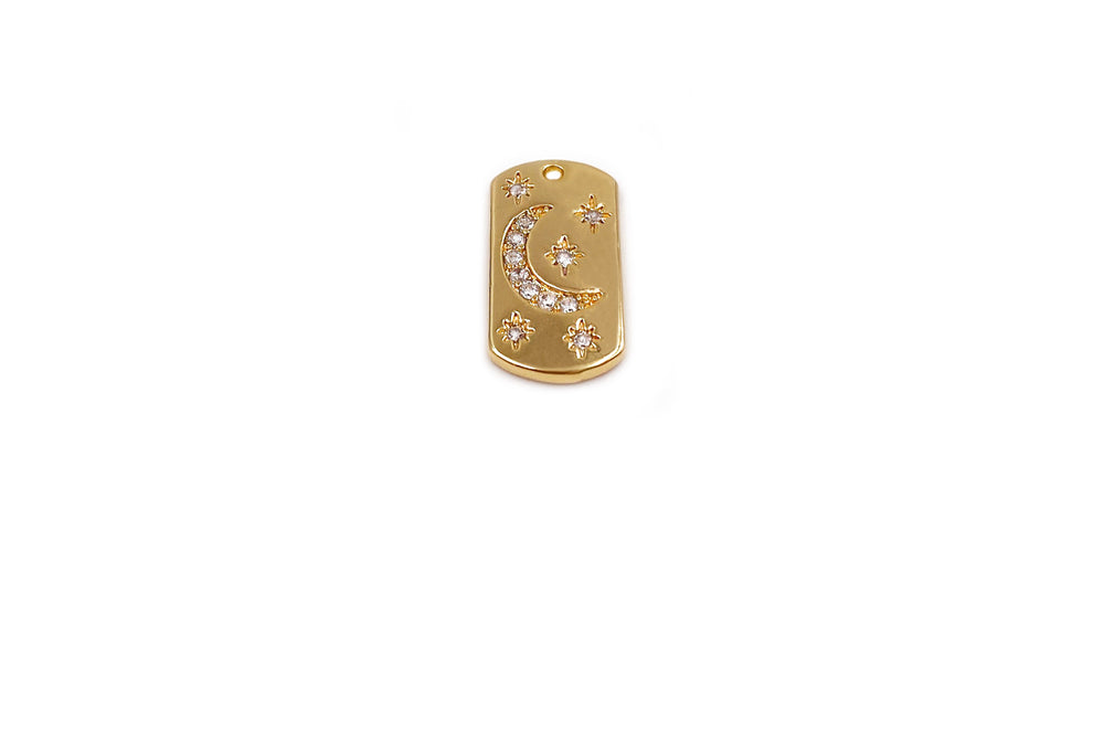 MP3887 Cubic Zirconia Dog Tag Charm/Pendant 18K Gold