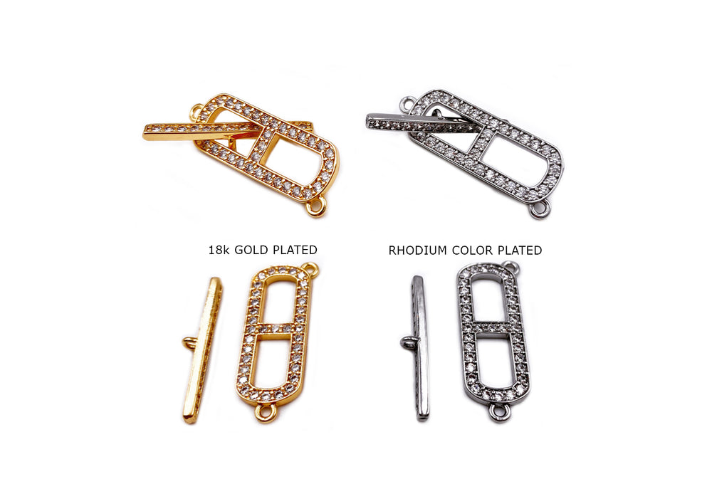 MP3889 Cubic Zirconia Micro Pave Oval Clasps CHOOSE COLOR BELOW