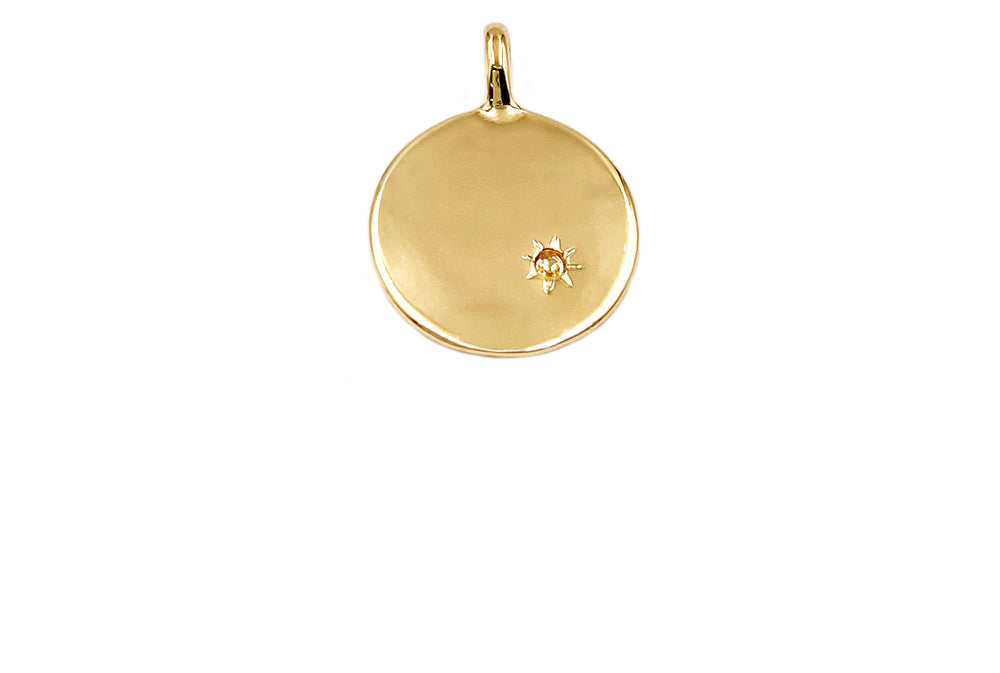 MP3904 Round 18k Gold Plated Solid Pendant/Charm