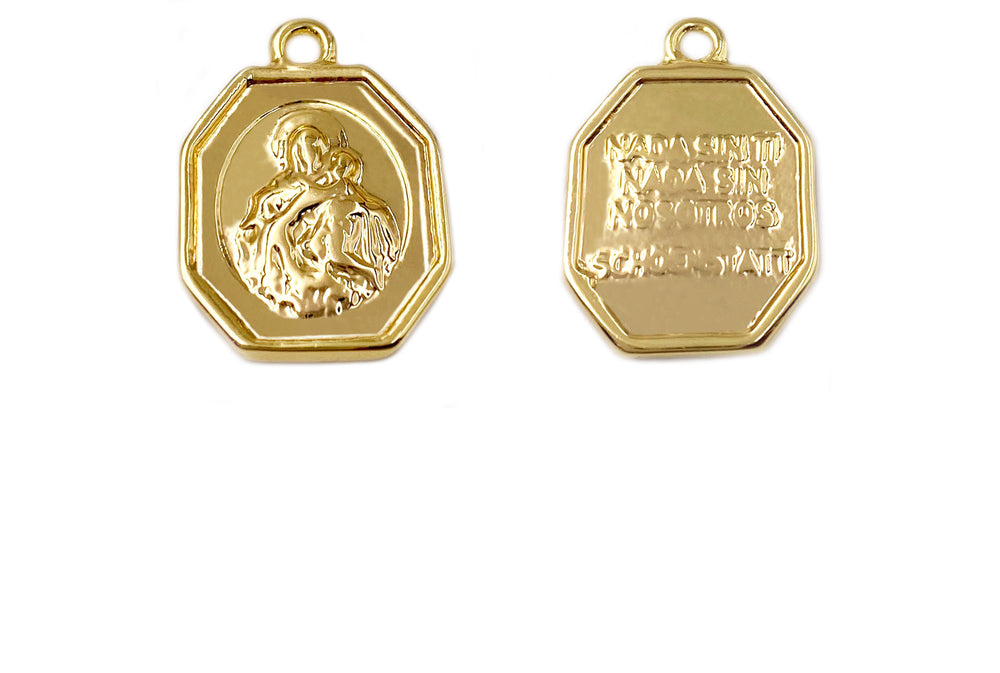 MP3905 18k Gold Plated Virgin Mary Coin Pendant/Charm